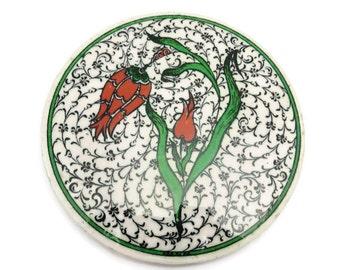 Painted Ceramic Plaster Trivet - Black White Red and Green, Tulips, Vintage Kitchen, Signed