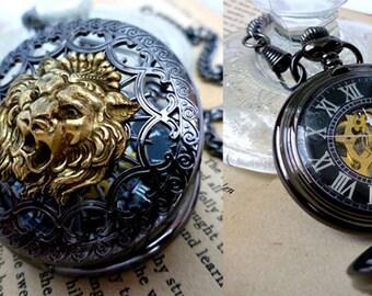 Lion Pocket Watch for Men - Steampunk Pocket Wach - Skeleton Hand-Wind Mechanical Watch for Him, Wedding, Birthday , Anniversary , Travel