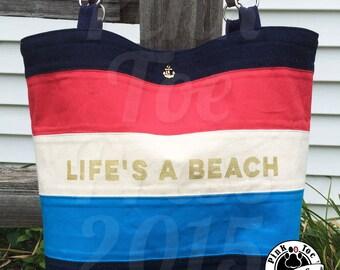 """LIFE'S A BEACH Nautical Purse """"Madeline"""" // Red White and Blue // Idiom Bag // Diaper Bag // Vegan // Travel Bag // Tote Bag"""
