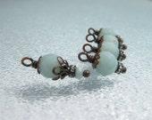 5 bead dangles charms AMAZONITE bead dangles Faceted fancy bead dangles