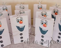 Frozen's Olaf Party Favor Bags Printables -- DIGITAL -- For Favor Bags and Snocone Cups
