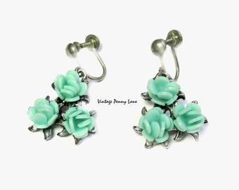 Vintage Blue Flower Earrings, Plastic / Silver, Costume Jewelry