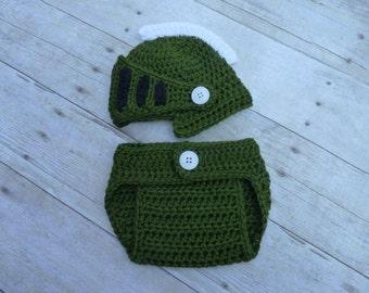Custom Crochet Little Knight Spartan Set