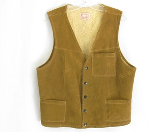 Vintage 70's Brown Leather Sheepskin Vest