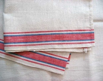 Pair of Vintage 1950 Unused Linen Tea, Kitchen Towels, White with Red and Blue Edge Stripes, Mint Condition
