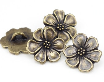 Antique Brass Button Findings - TierraCast APPLE BLOSSOM Flower Buttons - Bronze Buttons for Leather Jewelry and Wrap Bracelets (PAF21)