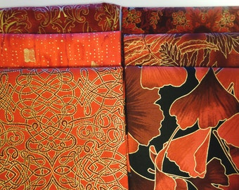 Red Gold Metallic Fabric Fat Quarter 6 pack