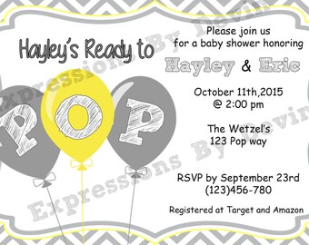Ready to POP baby shower Printable  5x7 Digtial Invitaion (Colors can be Changed)