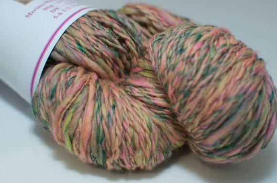 Merino/Bamboo Handspun Yarn in Shades of Green and Pink 96g/192yds