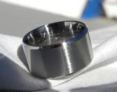 EXTRA WIDE Widths Only Titanium Ring or Wedding Band Beveled Edges