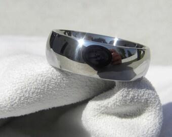 Wedding Band, Titanium Ring Classic Dome Polished