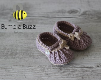Country Girl  - Baby Booties / Slippers / Shoes / Mary Janes 0-6 Months, 6-12 Months - Antique Rose
