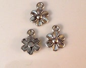 10 Antique Silver Daisy Flower Charms Double sides and Great Detail - SC75#GR*