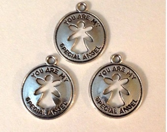 25 Special Angel Charms Antique Silver Tone - SC108#GE