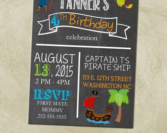 PRINTABLE- Pirate Birthday Party Invitation