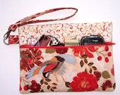 Orange Rust Floral Wristlet, Blue Crane Clutch, Green Cream Wallet, Small Zippered Purse, Tangerine Makeup Case, Phone or Camera Bag