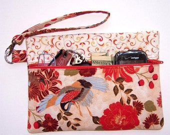 Orange Rust Floral Wristlet, Blue Crane Clutch, Green Cream Wallet, Small Zippered Purse, Tangerine Makeup Case, Phone or Camera Bag