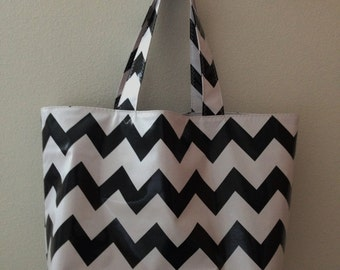 Beth's Big Black and White Chevron Oilcloth Market Tote Bag
