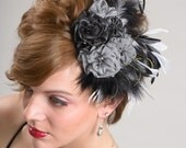 Silver grey- Black Evening Fascinator/ Scarf Clip, Marabou & Coq feather.