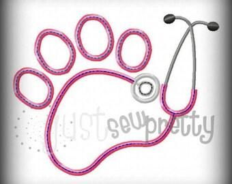 Pawprint Stethoscope Embroidery Applique Design