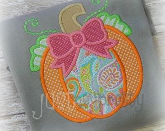 Pumpkin with Bow Applique Design