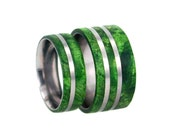 Green Wedding Band Set, Titanium Rings With Green Box Elder Burl, Wood Ring Set