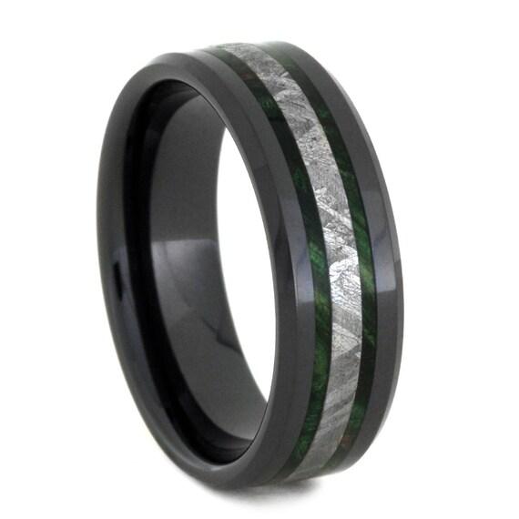 meteorite wedding band black ceramic ring with by