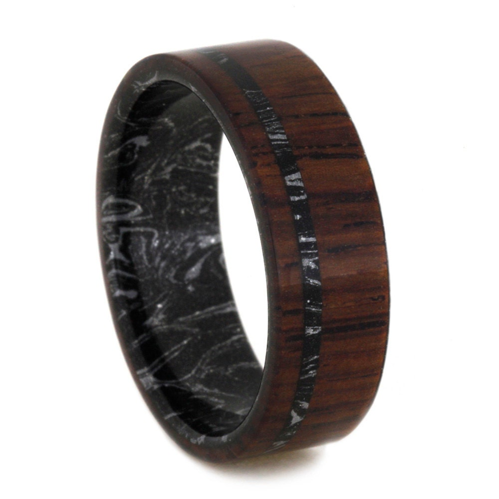 Mens Wood Ring With Black And Silver Mokume Gane By