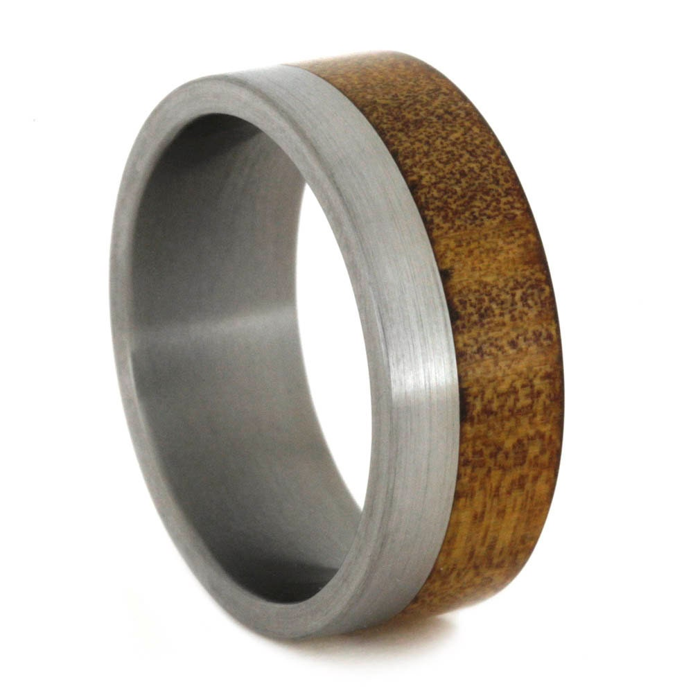 Wood Wedding Band Kauri Wood Ring With Titanium by jewelrybyjohan