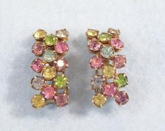 Vintage 60s Pastel Rhinestones Huggie Bar Clip on Earrings Multi-Colored