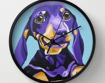 Blue Dachshund Portrait Wall Clock