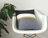 Navy Chambray Pillow Cover with Metallic Gold Stripe (16x20) - Modern Home Decor by JillianReneDecor - Colorblock - Nautical Pillow