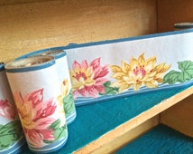 Fabulous 1949's vintage wallpaper trim, Trimz wallpaper boarders,  home decor, rich pastels look like water color painted water lillies,