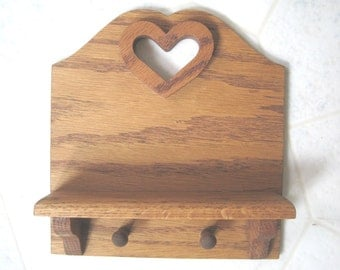 Vintage Wooden Hanger for keys, leash, shelf.... No nails visible.