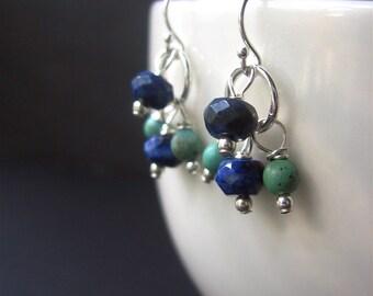 Turquoise Lapis Earrings, Cluster Earrings, Southwest Earrings, Sterling Silver Earrings