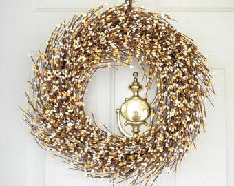 Fall Wreath - Yellow Cream Berry Wreath - Front door wreath  - year round wreath - grapevine wreath - Autumn wreath