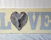 Wood Love sign upcycled vintage tin heart with key cream grey Cottage Chic decor wedding anniversary sign