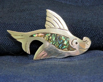 SALE Vintage Mexico Silver Fish Brooch Pin, Abalone Inlaid Mexican Sterling 925