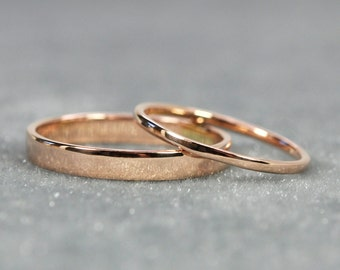 Rose Gold Wedding Band Set, 1mm and 3mm Width Rings, Solid 14K Rose Gold, Eco Friendly, Sea Babe Jewelry