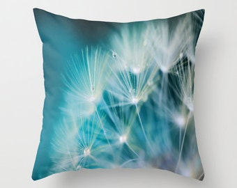 Raindrops On Dandelion Sea Blue Throw Pillow, Outdoor, Patio, Make a Wish Decorative Pillow, Nature Cushion, Wedding Gift, Water Drops, Dew