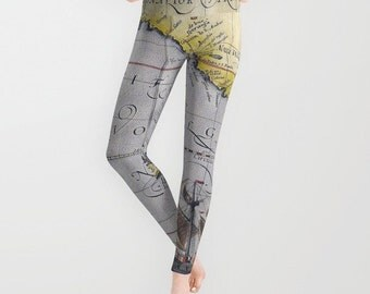 Antique World Map Leggings, Map Yoga Pants, Unique Fashion, Vintage Map Yoga Leggings,Women, Active Wear, Running Pants, Jogging Pants, Surf