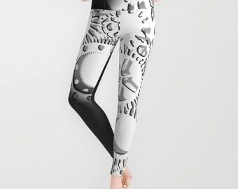 Gears Leggings, Black White Yoga Pants,Halloween Fashion, Steampunk Yoga Leggings, Women, Teen Active Wear, Running Pants, Jogging,Surf,Goth