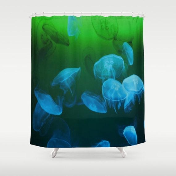 MOON Jellyfish Shower Curtain, Ocean Bathroom, Blue Green Home Decor, Nautical Shower Curtain, Nature Shower Curtain,Surf,Underwater,Coastal
