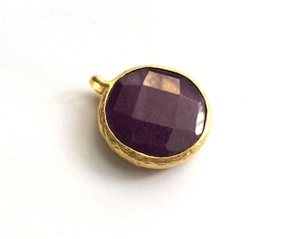 1pc- Matte Gold Plated  Purple Jade Circle Pendant- 30x25mm-(025-003GP)
