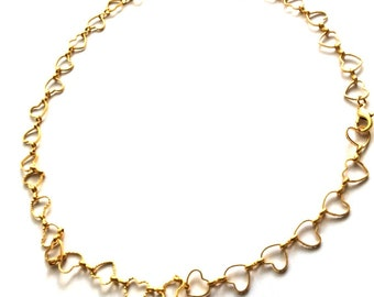 1 mt-Ready Necklace Matte Gold Plated Heart Chain- 15x15mm (017-005GP)