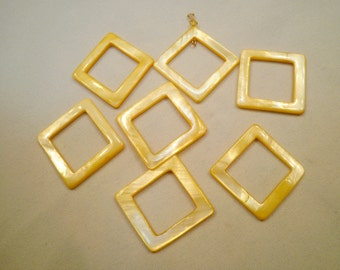 Bright Yellow Shell Square Frame Beads