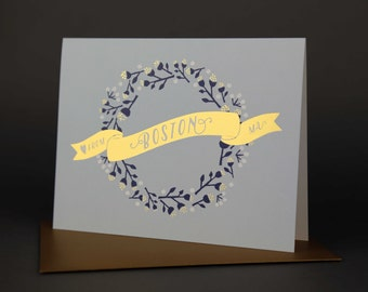 Wreath BOSTON Gold Foil Love card