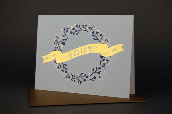 Wreath BOSTON Gold Foil Love card