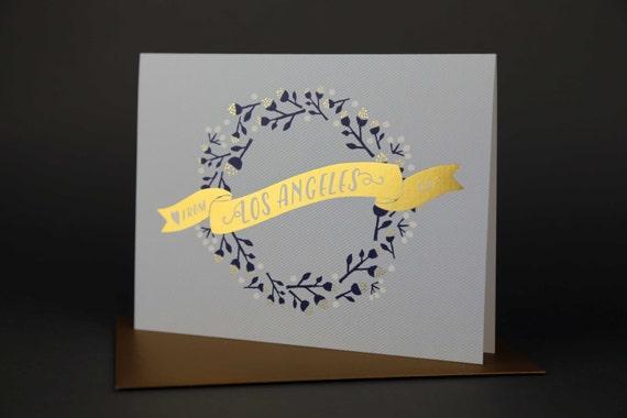 Wreath LOS ANGELES Gold Foil Love card