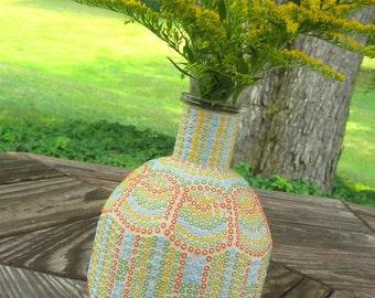 Multi Color Seed Bead Mosaic Bottle